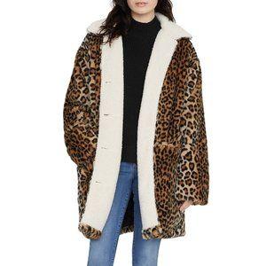Sanctuary Sierra Faux Fur Leopard Print Coat S NWT